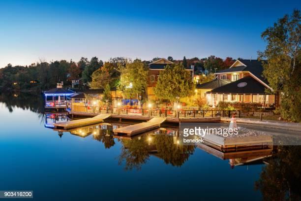 Muskoka riverside restaurants in downtown Huntsville Ontario Canada