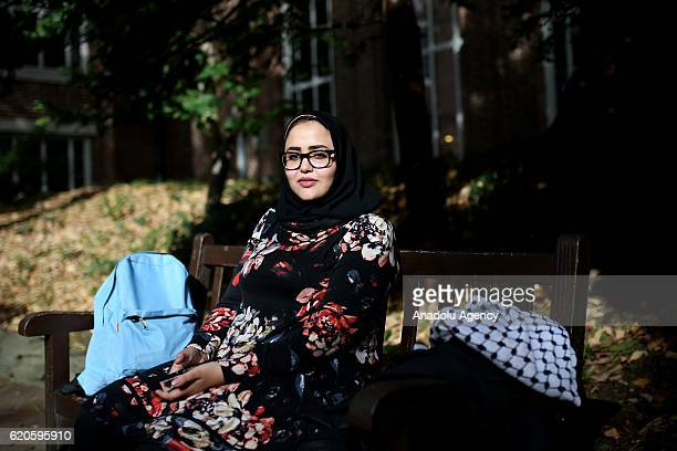 Muslim woman Sarah A Aly Mentorship Coordinator at Network for Arab American Professionals poses for a photo during an exclusive interview for...