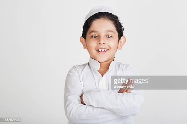 Muslim boy smiling