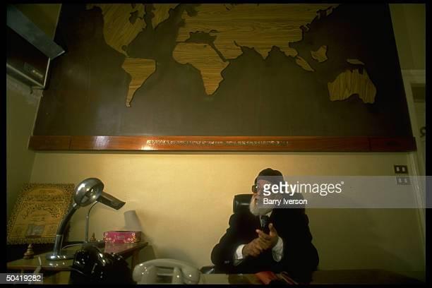 Muslim Brotherhood supreme spiritual ldr. Mohammed Hamed Abu Nasr during TIME interview in his world map adorned office.