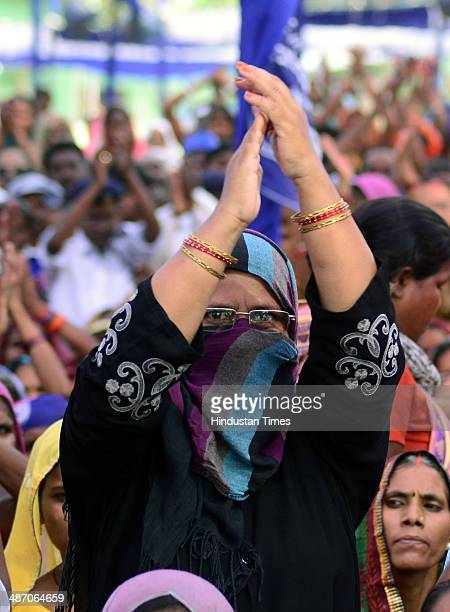 Muslim BSP supporter during a public meeting of BSP supremo Mayawati at KP college ground on April 27 2014 in Allahabad India During a public meeting...