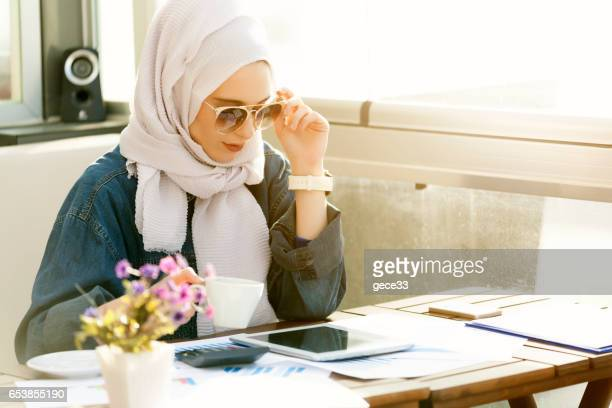 Muslim Caucasian Businesswoman Working