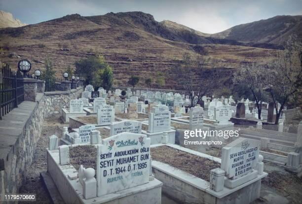 muslim cemetery at ahmed-i hani shrine near isak pasa palace,dogubayazit. - emreturanphoto fotografías e imágenes de stock