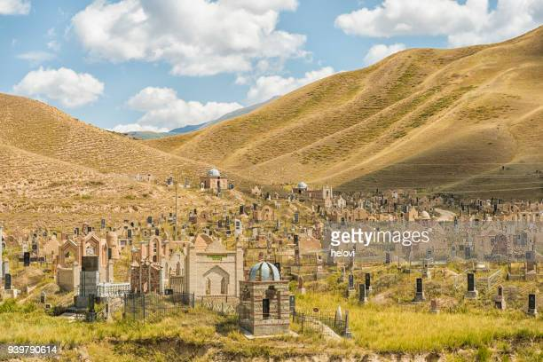 muslim cemetery in kyrgyzstan - kyrgyzstan stock photos and pictures