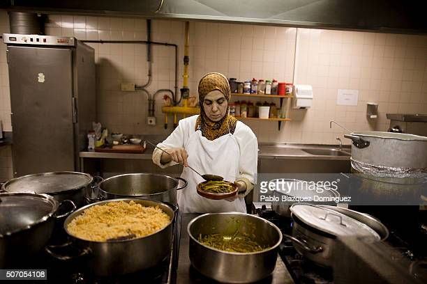 Muslim chef prepares food at a restaurant after the Friday prayer in Madrid's Islamic Cultural Center on January 23 2015 in Madrid Spain More than 17...