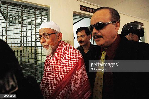 Muslim cleric Abu Bakar Bashir arrives at court on February 14 2011 in Jakarta IndonesiaBashir is the cofounder of Jeemah Islamiah the organisation...