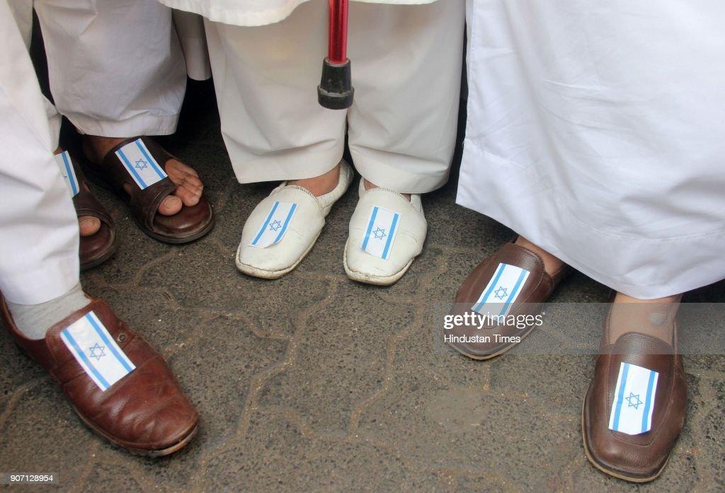 Muslims Protest Against The Visit Of Israel Prime Minister Benjamin Netanyahu In Mumbai