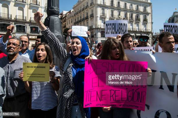 Muslim community of Madrid rejecting terrorist attacks in Barcelona under the slogan 'Not in my name' Placard reads 'Since when terrorism has...