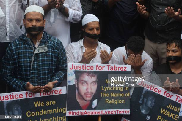 Muslim community of Mumbra hold placards condemning the recent mob lynching of Muslim youth Tabrez Ansari in Jharkhand state on June 28 2019 in...