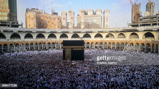 Muslim devotees circumambulate the Kaaba during the Muslim's holy fasting month of Ramadan in Mecca Saudi Arabia on June 16 2017