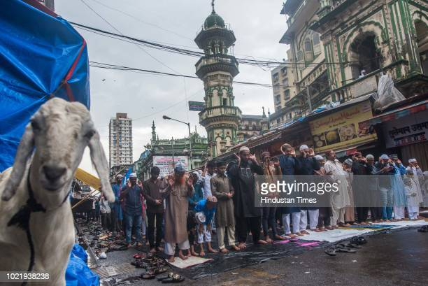 Muslim devotees offer prayers on the occasion of Eid alAdha at Minara Masjid on August 22 2018 in Mumbai India Eid alAdha marks the prophet's...