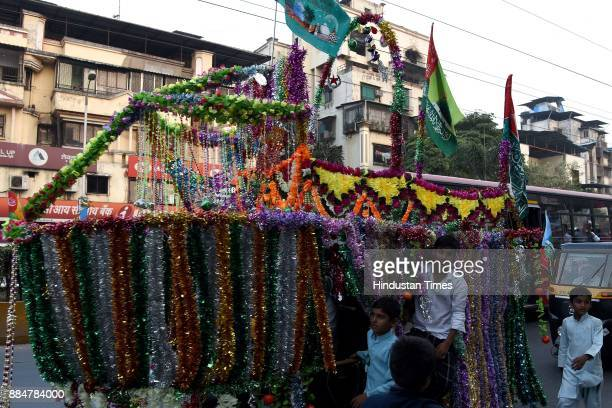 Muslim devotees participate in a procession during Eid MiladUnNabi the birth anniversary of Prophet Muhammad the founder of Islam also believed to be...
