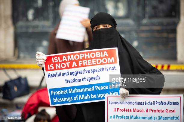 Muslim faithfuls attend prayer organised by the Muslim community in the city centre near the French Embassy to protest against the cartoons of the...