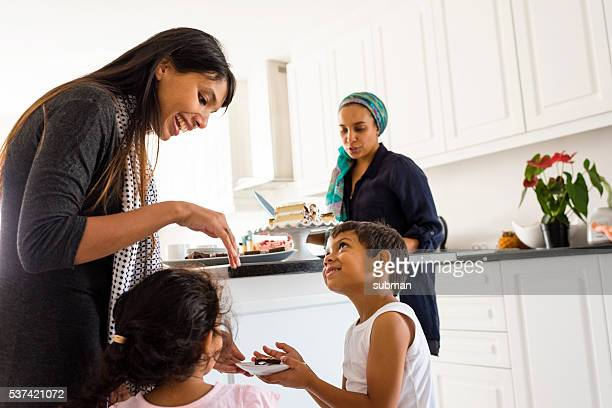 Muslim Family & Friends Enjoying Afternoon Tea
