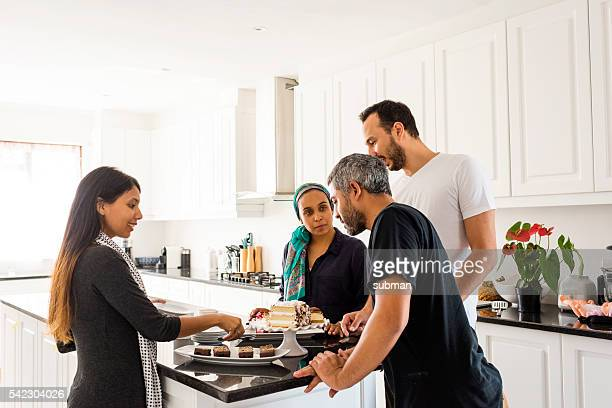 Muslim Family & Friends Enjoying Afternoon Tea