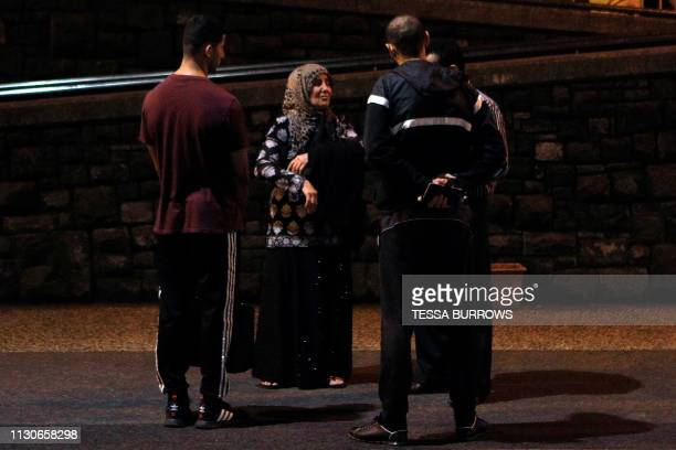 A Muslim family waits outside a hospital after a shooting incident in Christchurch on March 15 2019 Attacks on two Christchurch mosques left at least...