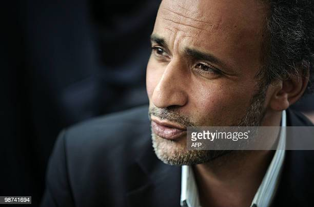 Muslim French intellectual Tariq Ramadan participates in a conference untitled 'living together' on April 25 2010 at El Arhama mosque in Nantes...