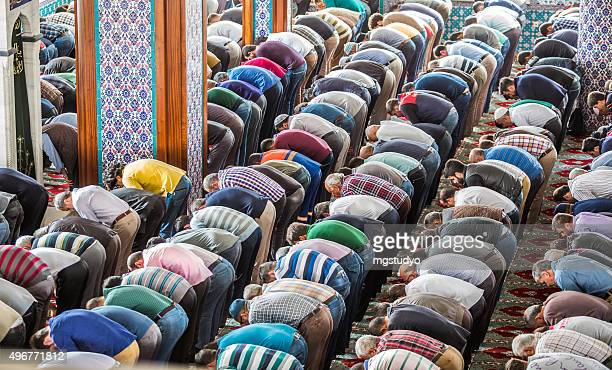 muslim friday mass prayer in turkey - muslim praying stock pictures, royalty-free photos & images