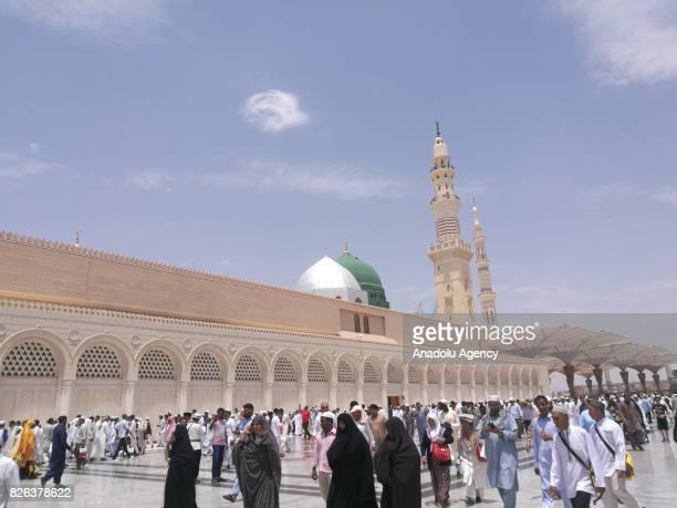 Muslim gather to perform Friday Prayer at Masjid alNabawi in Medina Saudi Arabia on August 4 2017