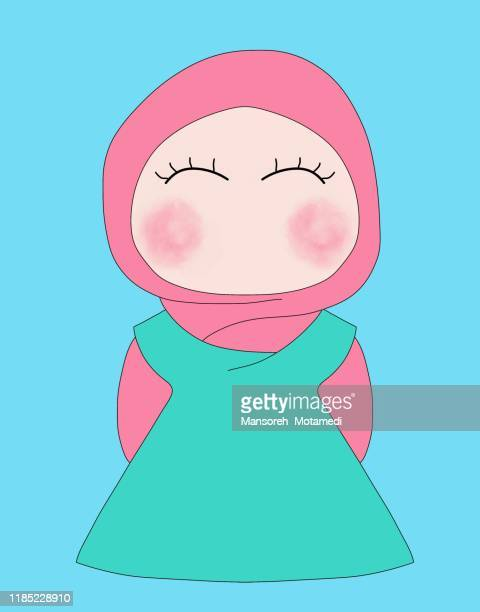 muslim girl with hijab illustration - funny avatar stock pictures, royalty-free photos & images
