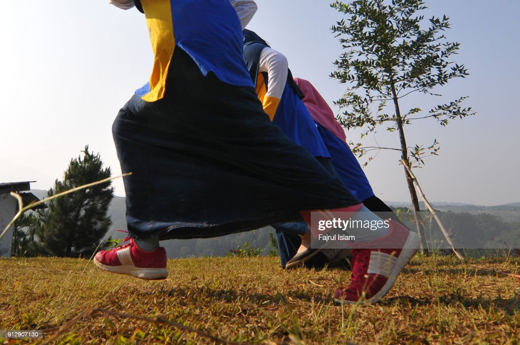 Muslim girls Running : Stock Photo