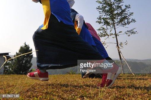 Muslim girls Running