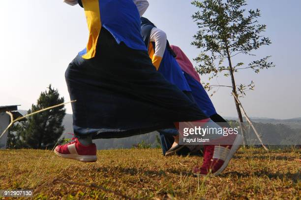 Muslim girls Running