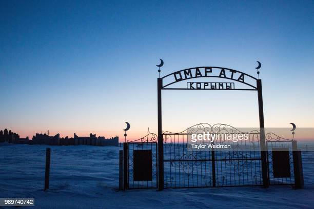 Muslim graveyard is photographed at sunrise near Tastubek Kazakhstan The Aral Sea once the fourthlargest lake in the world started drying out and...