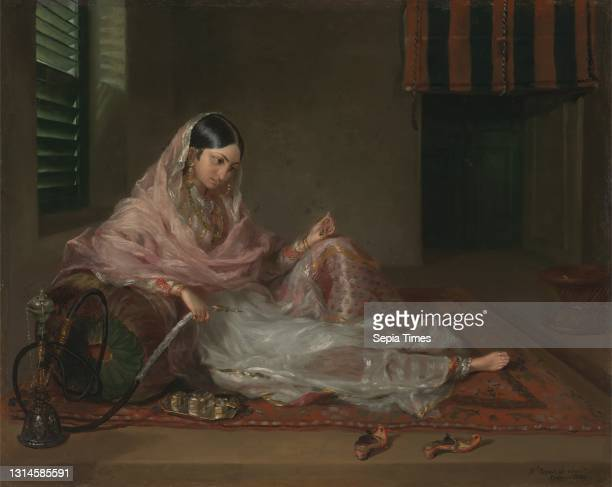 Muslim Lady Reclining, Francesco Renaldi, 1755–after 1798, Italian, active in Britain Oil on canvas, Support : 22 1/2 × 27 1/2 inches , anklets,...