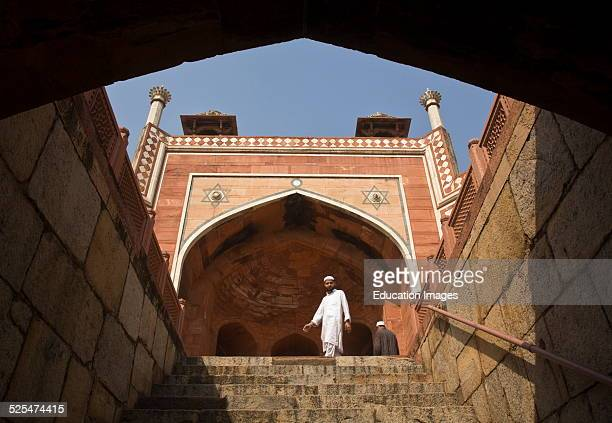 Muslim Man At Humayuns Tomb Which Was Built Of White Marble And Red Sandstone In1565 And Is A Fine Example Of Mughal Architecture New Delhi India