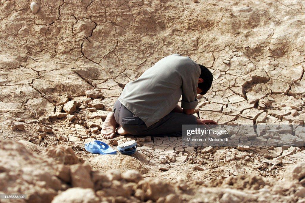 Muslim man is crying : Stock Photo