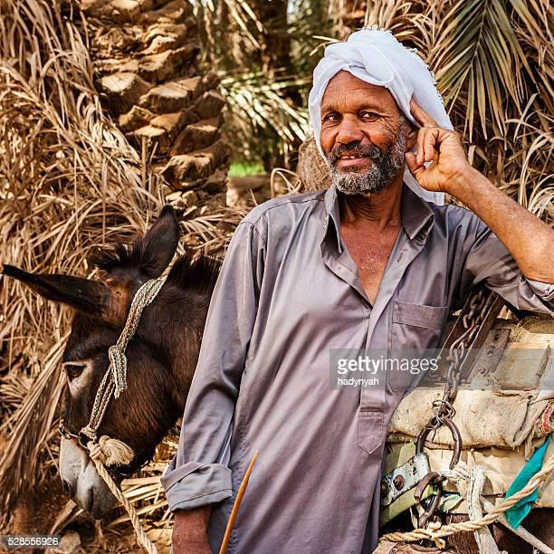 イスラム男性、ロバ荷車、シワのオアシス、サハラ