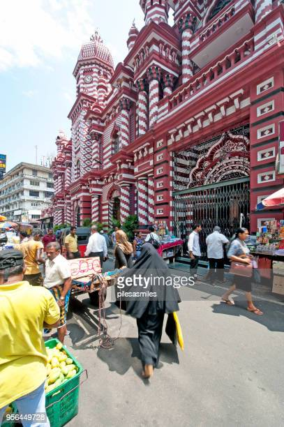 muslim market, red mosque, pettah, fort, colombo, sri lanka - islamabad stock pictures, royalty-free photos & images