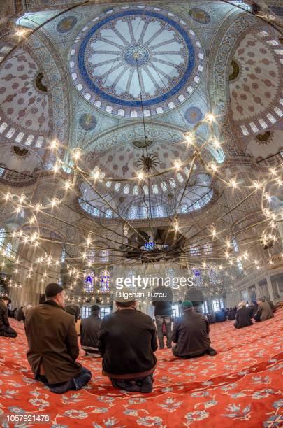les hommes musulmans sont en prière dans la mosquée du sultan ahmet - coran photos et images de collection