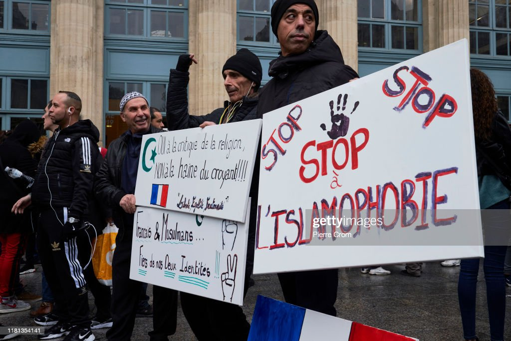 Demonstrators Attend A Protest Against Islamophobia Outside Gare Du Nord : News Photo