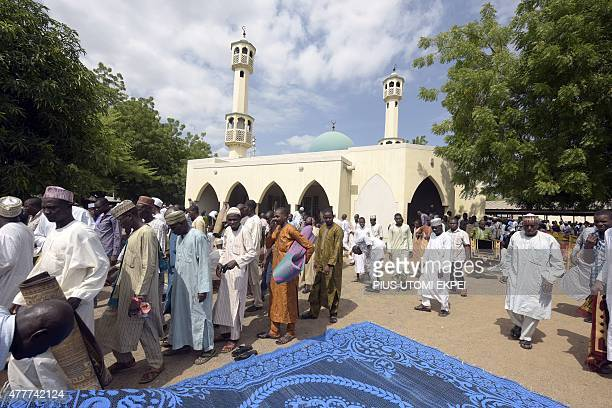 Muslim men leave after praying to mark the holy month of Ramadan at Jimeta Central Mosque in Yola Adamawa state in northeast Nigeria on June 19 2015...