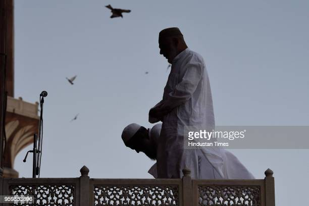Muslim men offer prayers on the first Friday of the holy month of Ramadan at the Jama Masjid on May 18 2018 in New Delhi India Muslims all over the...