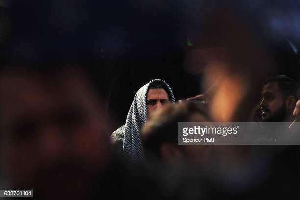 Muslim men pray at a prayer and demonstration at JFK airport to protest President Donald TrumpÕs Executive Order banning immigrants and refugees from...