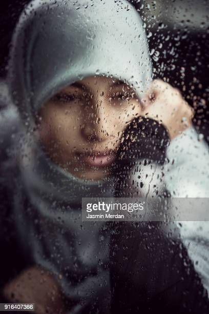 muslim middle eastern woman with hijab - iranian culture stock photos and pictures