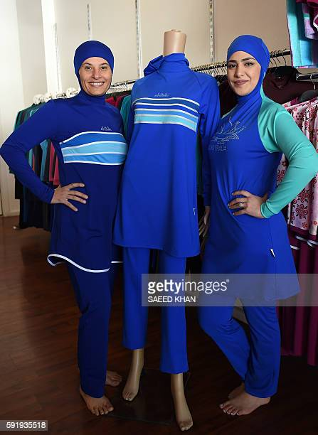 Muslim models display burkini swimsuits at a shop in western Sydney on August 19 2016 Part bikini part allcovering burqa the burqini swimsuit has...