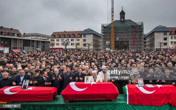 Muslim Mourners pray prior to the funeral of victims of last week's mass shooting on February 24, 2020 in Hanau, Germany. Tobias Rathjen shot dead...