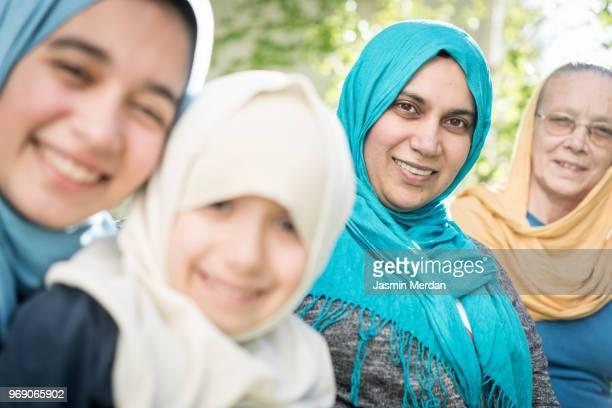 Muslim multi generational family portrait