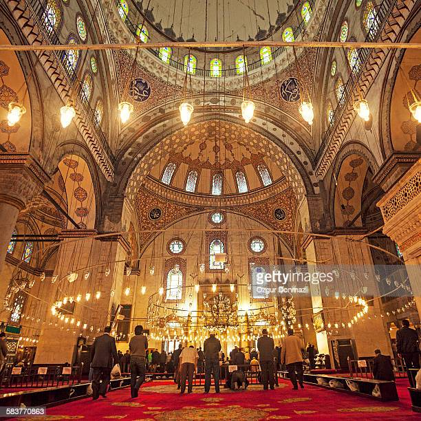 Muslim People Praying In Blue Mosque, Istanbul