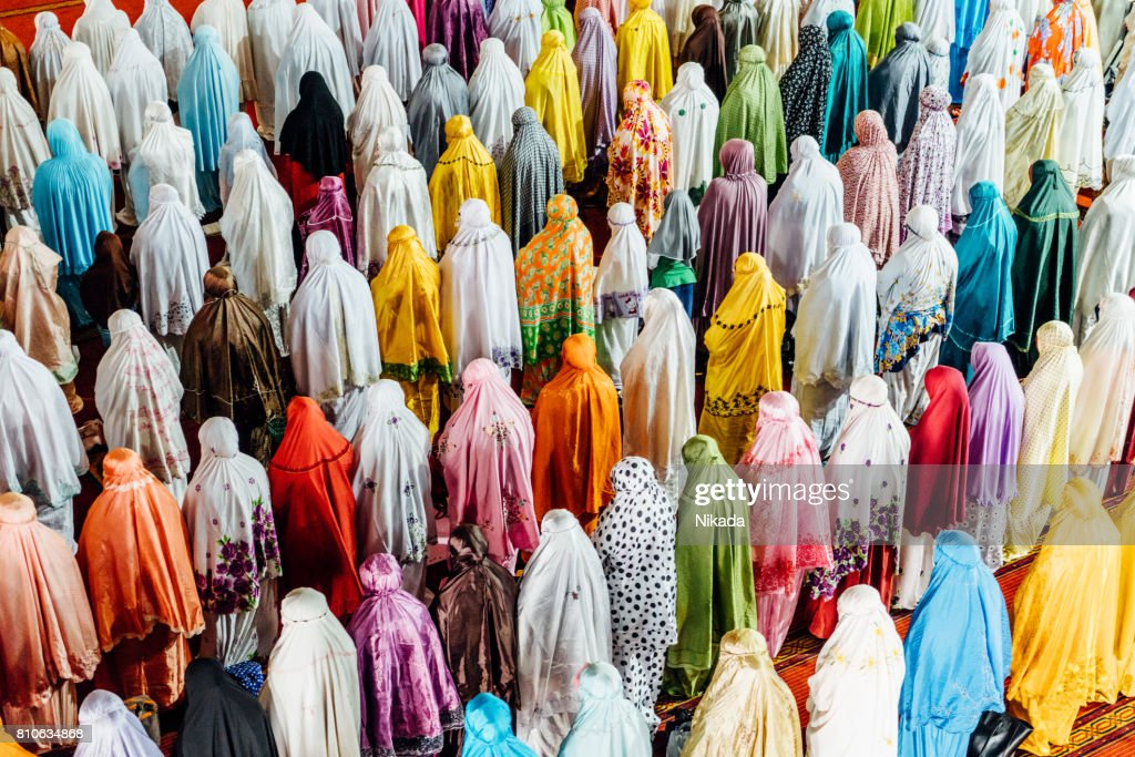 Muslim People praying in Istiqlal Mosque, Jakarta, Indonesia : Stock Photo
