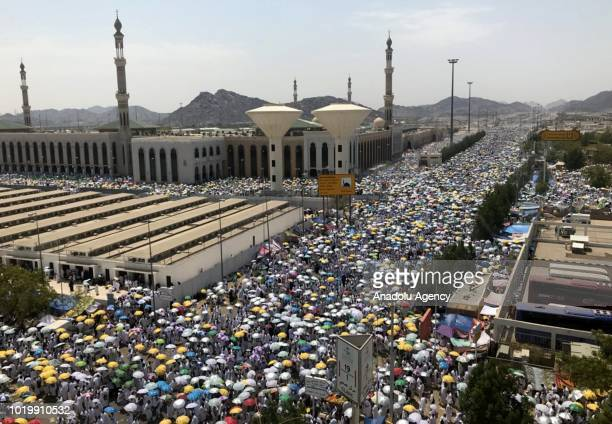 Muslim pilgrims are seen at Namirah Mosque in Mecca Saudi Arabia on August 20 ahead of the climax of hajj Muslim pilgrims dressed in white headed to...
