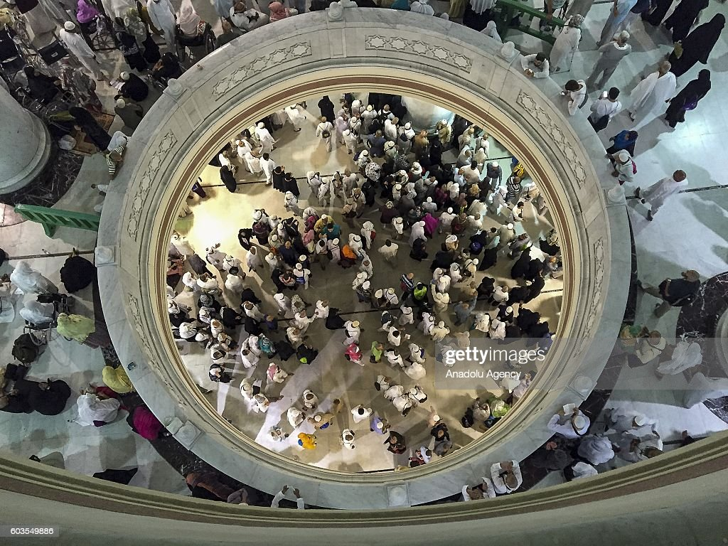 Muslim pilgrims are seen near the Kaaba, Islam's holiest site, located in the center of the Masjid al-Haram (Grand Mosque) during Hajj (Islamic pilgrimage) in Mecca, Saudi Arabia on September 12, 2016 on the day, one of the Muslims most important holiday, Eid Al-Adha (Feast of Sacrifice).Muslims worldwide celebrate Eid Al-Adha, to commemorate the holy Prophet Ibrahim''s (Prophet Abraham) readiness to sacrifice his son as a sign of his obedience to God, during which they sacrifice permissible animals, generally goats, sheep, and cows. Eid-al Adha is the one of two most important holidays in the Islamic calendar, with prayers and the ritual sacrifice of animals.