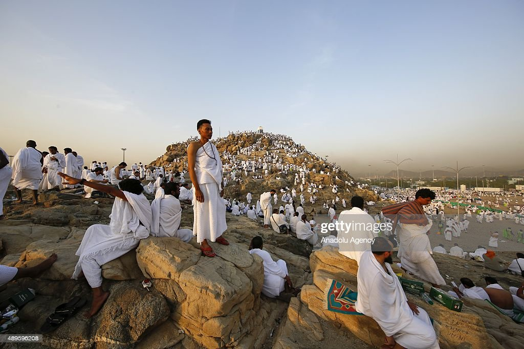 Muslim pilgrims are seen on the Mount Arafat, also known as Jabal al-Rahmah (Mount of Mercy), where the Prophet Mohammed is believed to have given his final sermon, in Mecca, Saudi Arabia on September 23, 2015, ahead of the climax of hajj. Muslim pilgrims, dressed in white, headed to Mount Arafat, in western Saudi Arabia, to take part in the main rituals of the annual hajj and to become pilgrims on the eve of Eid al-Adha (Feast of Sacrifice).