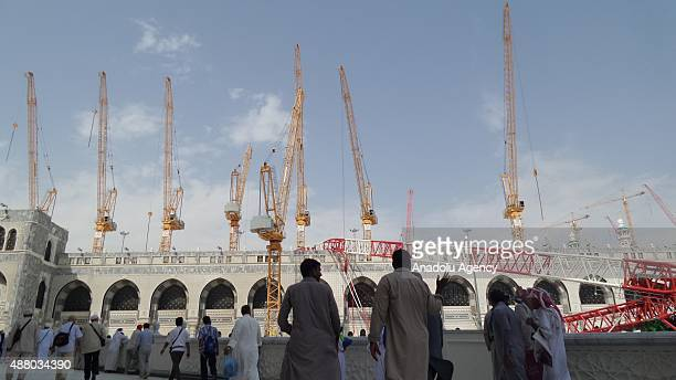 Muslim pilgrims arrive at the Masjid alHaram as expansion and construction works continue ahead of the start of the annual hajj pilgrimage in Mecca...