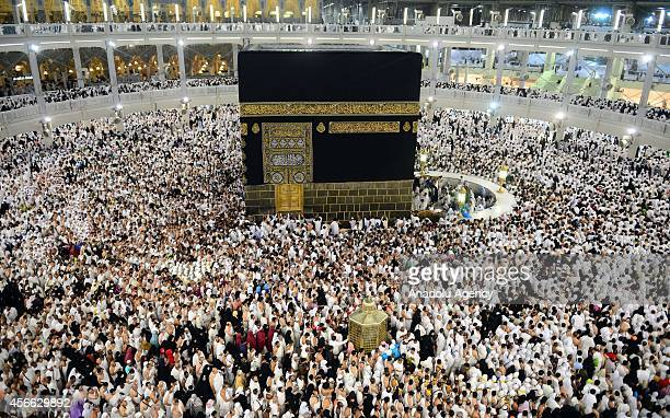 Muslim pilgrims at the Masjid alHaram after performing the 'Jamarat' ritual the stoning of Devil in Mina near the holy city of Mecca on October 4...