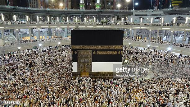 Muslim pilgrims circumambulate around the Kaaba Islam's holiest site located in the center of the Masjid alHaram ahead of the start of the annual...